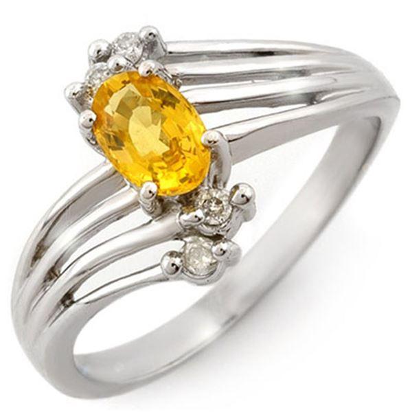 0.80 ctw Yellow Sapphire & Diamond Ring 18k White Gold - REF-31Y3X