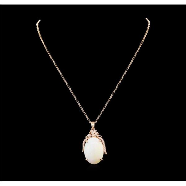 27.11 ctw Opal and Diamond Pendant With Chain - 14KT Rose Gold