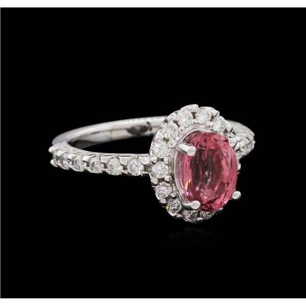 1.70 ctw Pink Tourmaline and Diamond Ring - 14KT White Gold