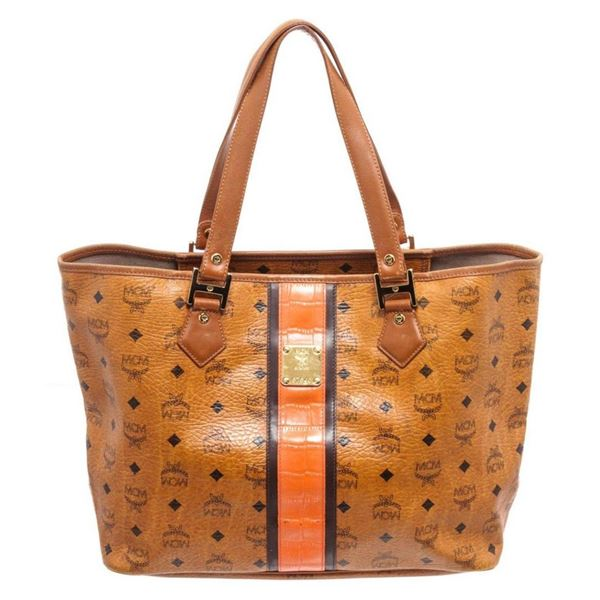 MCM Cognac Coated Canvas Shopper Tote Bag