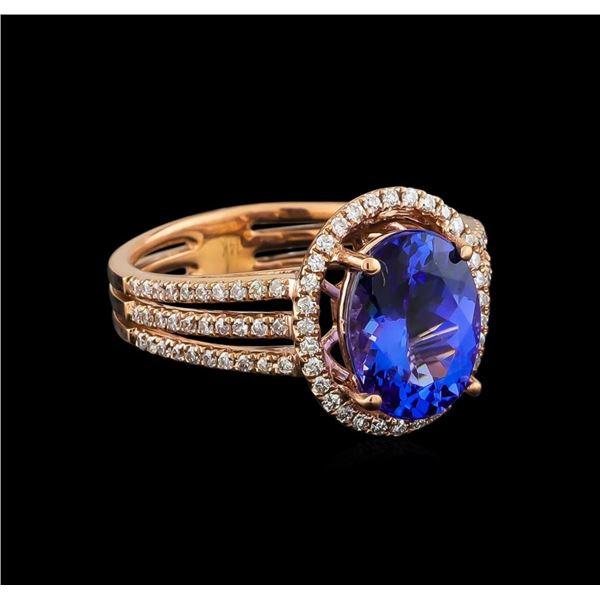 14KT Rose Gold 2.92 ctw Tanzanite and Diamond Ring