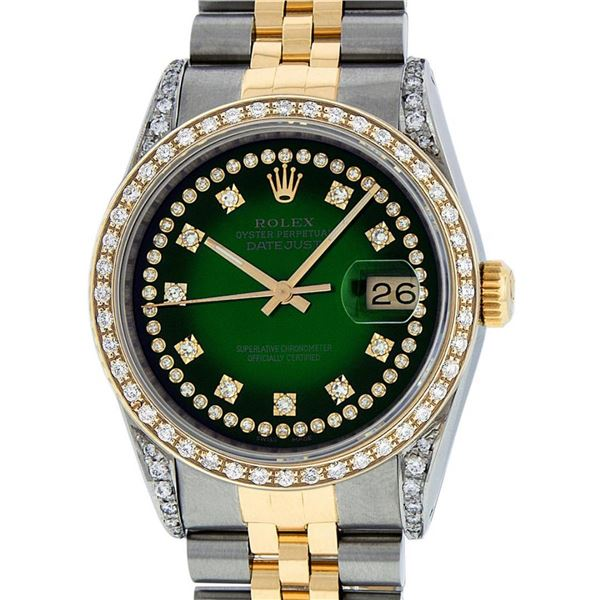 Rolex Mens 36 Green Vignette Diamond Lugs Datejust Wristwatch Oyster Perpetual