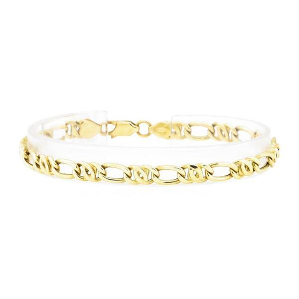 Fancy Figaro Link Bracelet - 18KT Yellow Gold