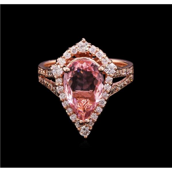 2.27 ctw Pink Tourmaline and Diamond Ring - 14KT Rose Gold