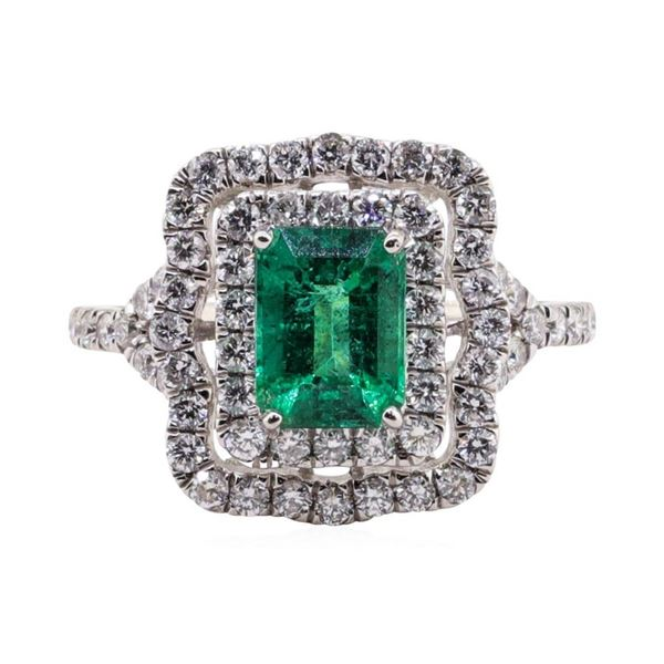 1.46 ctw Emerald and Diamond Ring - Platinum