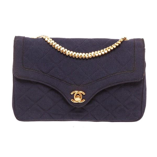 Chanel Navy Blue Fabric Envelope Flap Crossbody Bag