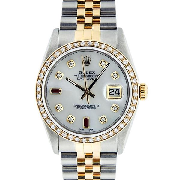 Rolex Mens 2 Tone Mother Of Pearl Diamond 36MM Oyster Perpetual Datejust
