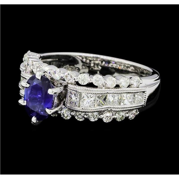 0.97 ctw Blue Sapphire And Diamond Ring - 14KT White Gold