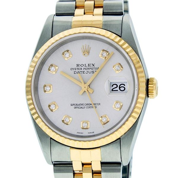 Rolex Mens 2 Tone Silver Diamond 36MM Datejust Wriswatch