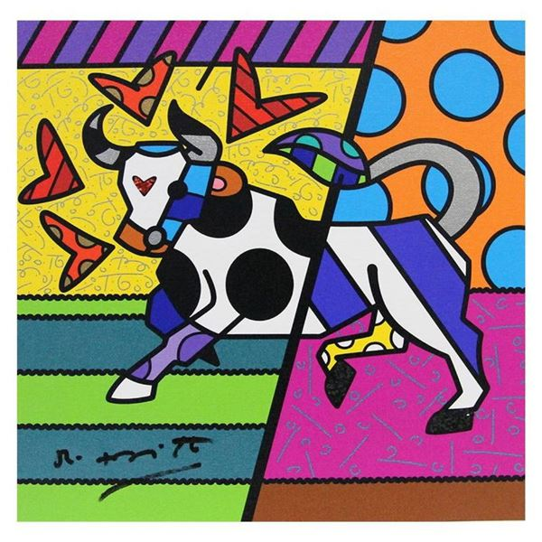 """Britto, """"Taurus"""" Hand Signed Limited Edition Giclee on Canvas; Authenticated."""