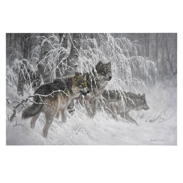"""Larry Fanning, """"Edge of Winter (Gray Wolves)"""" Limited Edition on Canvas, AP Numb"""