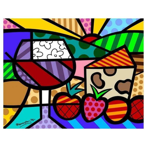 """Romero Britto """"Toast To Life"""" Hand Signed Limited Edition Giclee on Canvas; COA"""