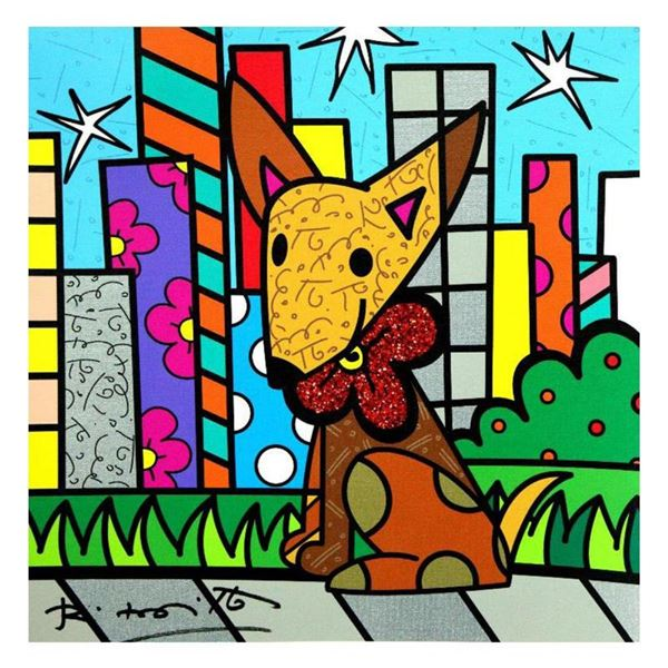 """Romero Britto """"Mexicana"""" Hand Signed Limited Edition Giclee on Canvas; Authentic"""