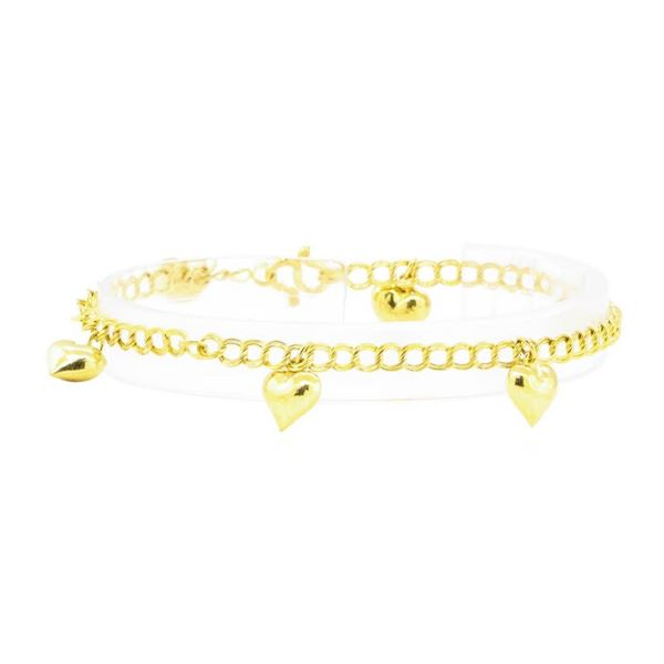 Heart Charm Bracelet - 22KT Yellow Gold