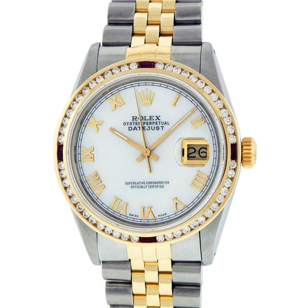 Rolex Mens 2 Tone MOP Roman & Ruby Channel Set Diamond Datejust Wristwatch