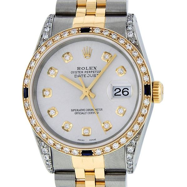 Rolex Mens 2 Tone Lugs Silver Diamond & Sapphire 36MM Datejust