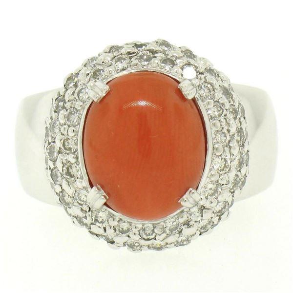 14kt White Gold Oval Cabochon Red Coral Ring w/ 2.10 ctw Diamond Halo