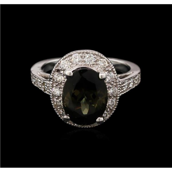 4.03 ctw Tourmaline and Diamond Ring - 14KT White Gold
