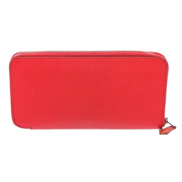 Hermes Orange Epsom Leather Silk'In Classic Wallet
