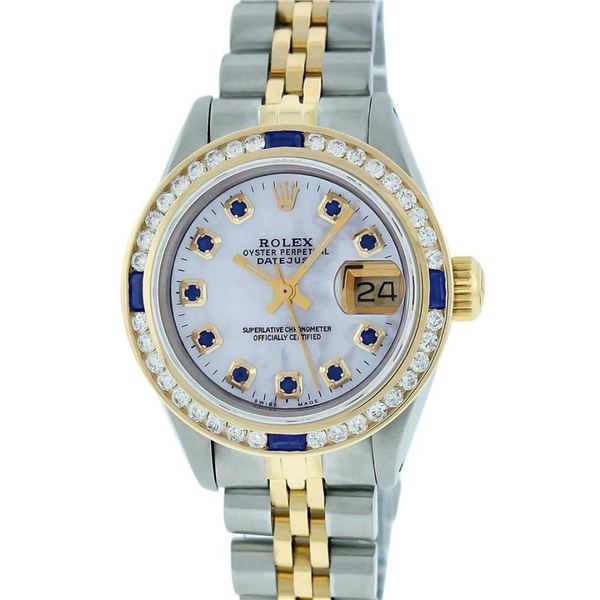 Rolex Ladies 2T MOP Sapphire & Diamond Channel Set Datejust Wristwatch