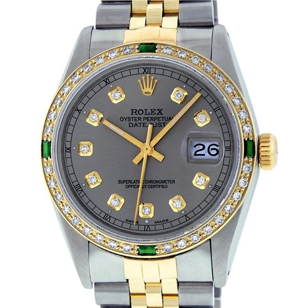 Rolex Mens 2 Tone Slate Grey & Emerald Diamond Datejust Wristwatch