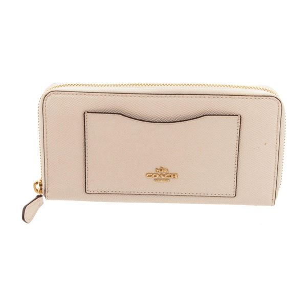 Coach White Leather Long Zippy Wallet