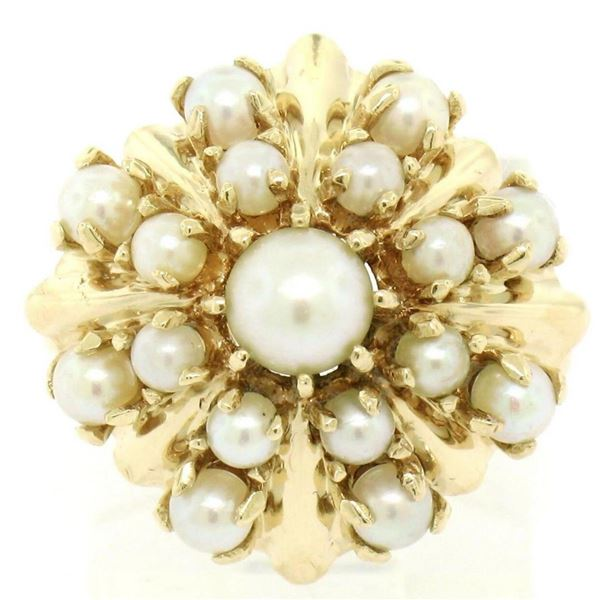 Estate 14k Yellow Gold 3 Tier 17 Pearl Snowflake Burst Cluster Cocktail Ring