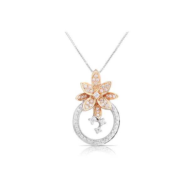 18k White/rose Gold 0.42CTW Diamond Pendant, (SI1-SI2/G-H)