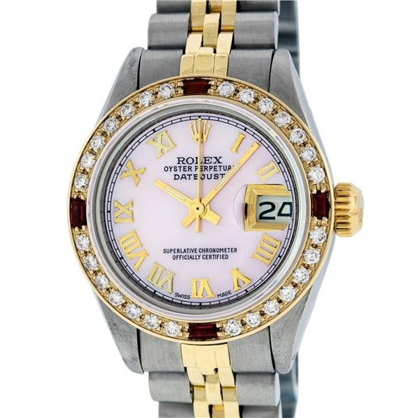 Rolex Ladies 2 Tone Pink MOP Diamond & Ruby Datejust Wristwatch