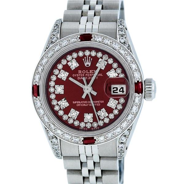 Rolex Ladies Stainless Steel 26MM Maroon Diamond Lugs Oyster Perpetual Datejust