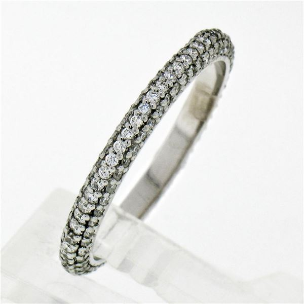 14K White Gold .85 ctw Diamond 2.30mm Domed 3 Row Eternity Wedding Band Ring