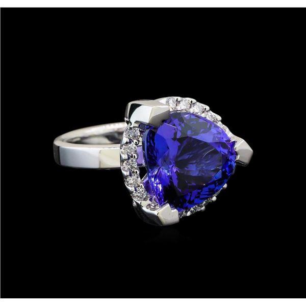 GIA Cert 8.52 ctw Tanzanite and Diamond Ring - 14KT White Gold
