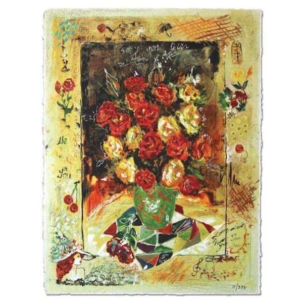 """Sergey Kovrigo, """"Red Bouquet"""" Hand Signed Limited Edition Serigraph with Letter"""
