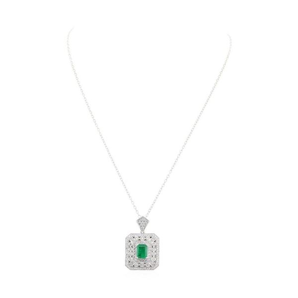 2.85 ctw Emerald and Diamond Pendant With Chain - 18KT White Gold
