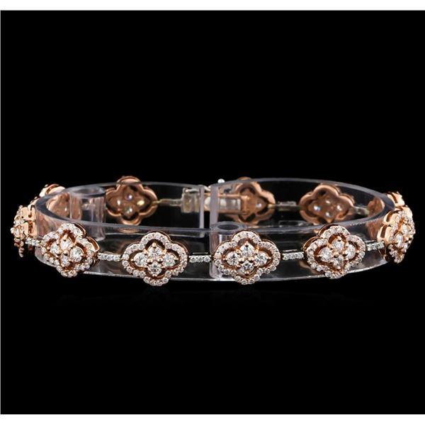 4.39 ctw Diamond Bracelet - 14KT Rose and White Gold