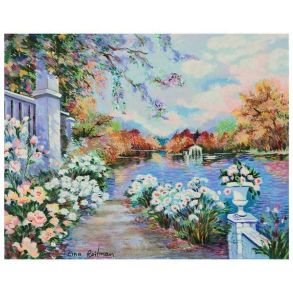 """Zina Roitman, """"Lac Fleuri"""" Limited Edition Serigraph on Canvas Board, Numbered a"""
