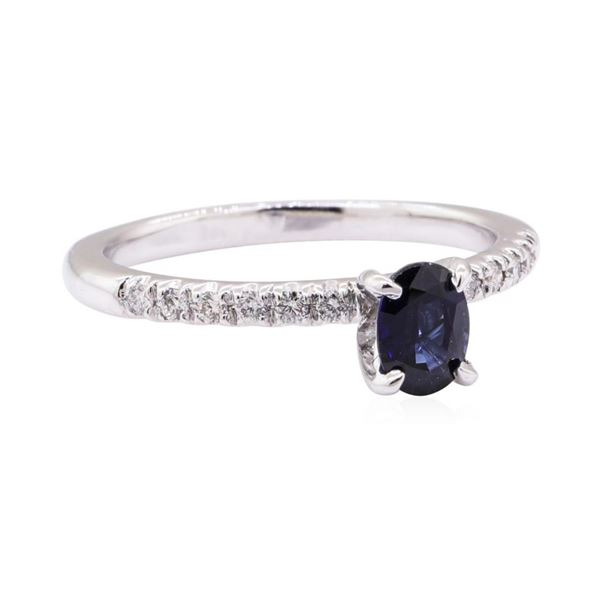 1.31 ctw Blue Sapphire and Diamond Ring - 14KT White Gold