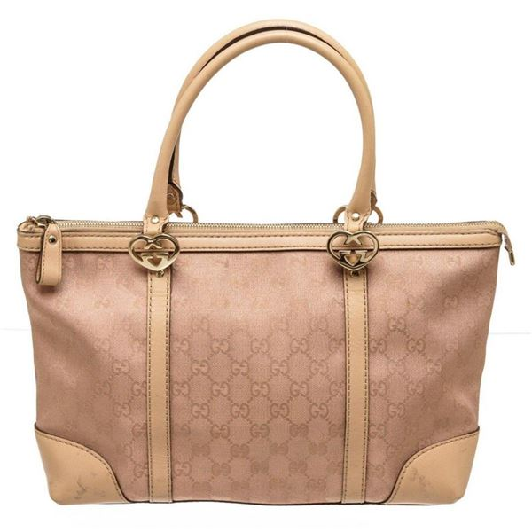 Gucci Pink Metallic GG Canvas Leather East West Twin Hearts Tote