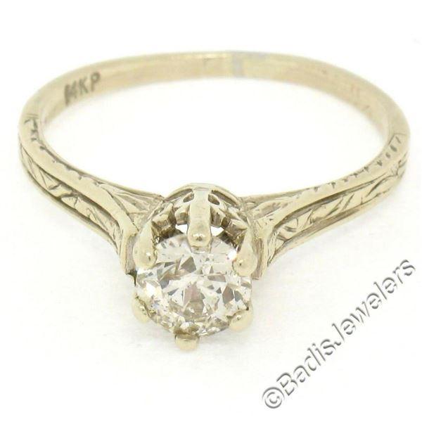 Art Deco Etched 14kt White Gold 0.60 ctw European Diamond Solitaire Engagement R