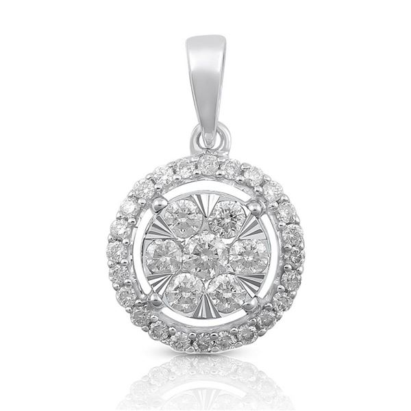 14K White Gold 0.50 ctw Diamond Pendant Necklace, (SI3/H-H)