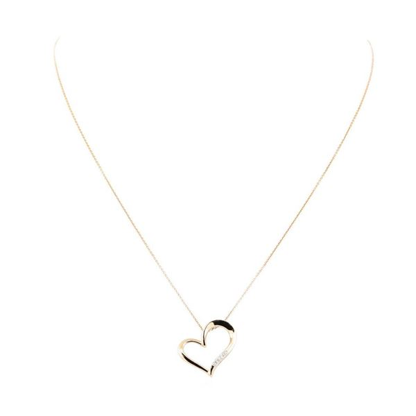 0.06 ctw Diamond Heart Shaped Pendant with Chain - 14KT Rose Gold