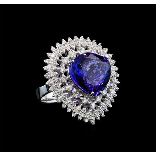 GIA Cert 11.22 ctw Tanzanite and Diamond Ring - 14KT White Gold
