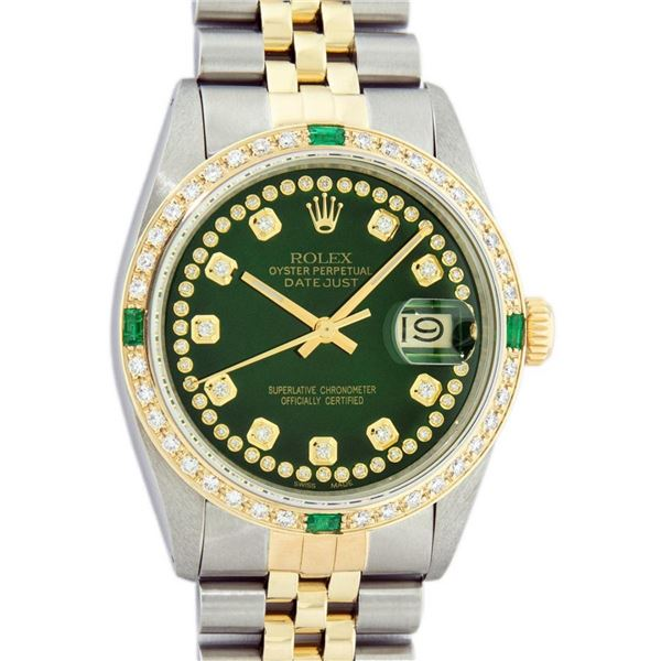 Rolex Mens 2 Tone Green String Diamond & Emerald Datejust Wristwatch