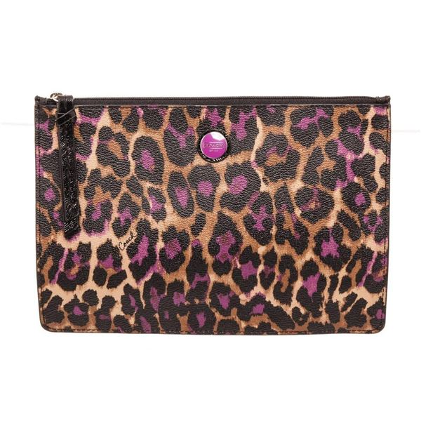 Coach Purple Ocelot Leather Zipper Pouch