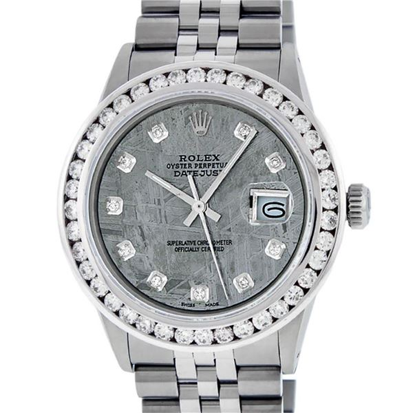 Rolex Mens Stainless Steel Meteorite 3 ctw Diamond Datejust 36MM Wristwatch