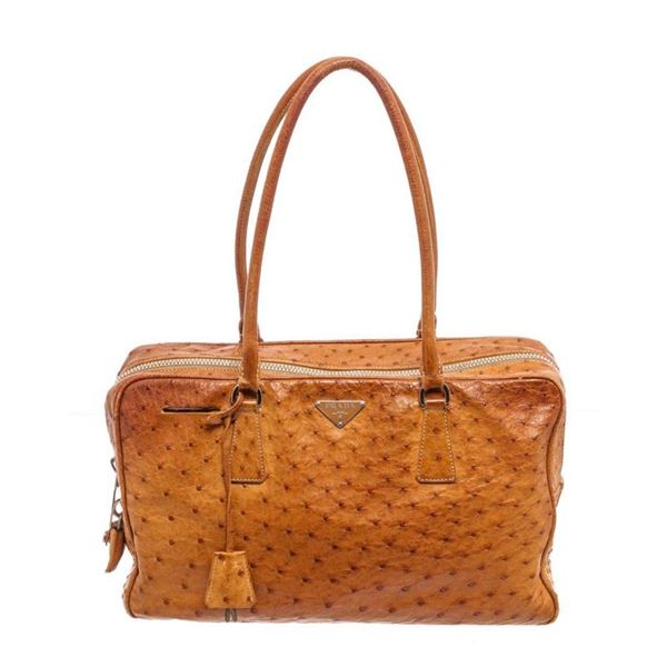 Prada Brown Ostrich Leather Shoulder Bag