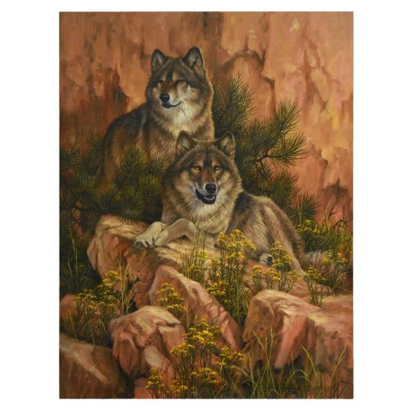 """Larry Fanning, """"Summer Retreat - Gray Wolves"""" Limited Edition on Canvas, AP Numb"""