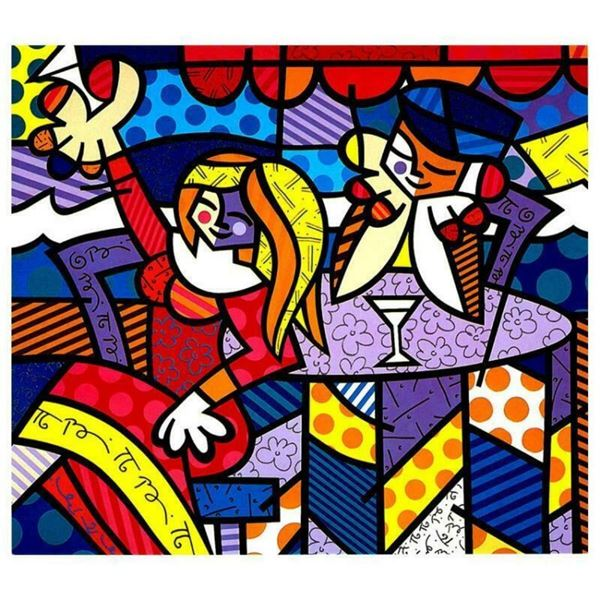 """Romero Britto """"Doing Lunch Again"""" Hand Signed Giclee on Canvas; Authenticated"""