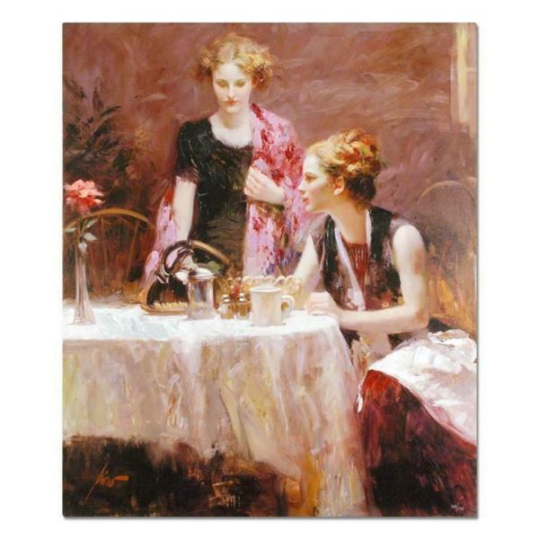 """Pino (1939-2010), """"After Dinner"""" Artist Embellished Limited Edition on Canvas, N"""
