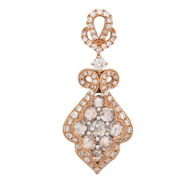 18k White/rose Gold 1.15CTW Diamond Pendant, (VS/G)